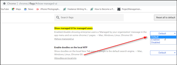 Chrome says - Managed by your organization