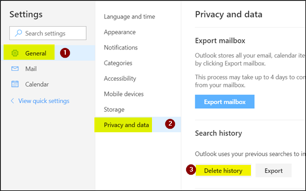 Delete Search History from Outlook