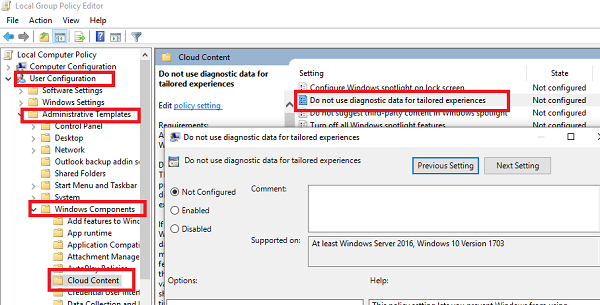Tailored Experiences Group Policy Settings