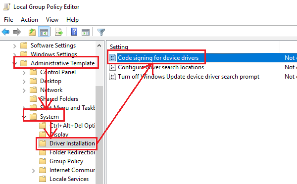 Disable driver signing through the group policy editor