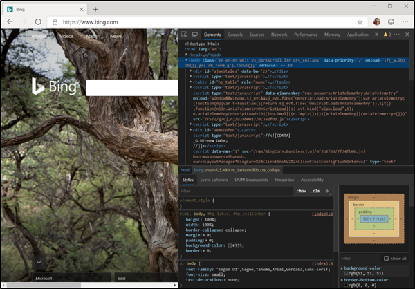 Dev Tools in Microsoft Edge(Chromium)