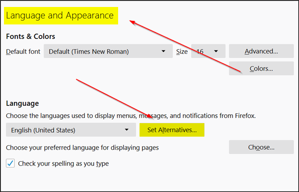 Change User Interface language for Chrome or Firefox