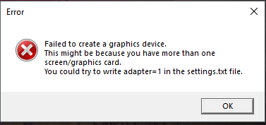 Failed to create a graphics device