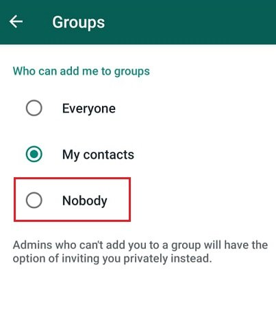 Groups menu to prevent join invite