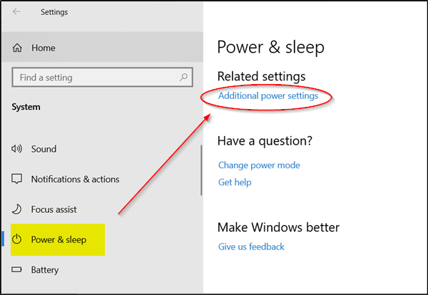 Additional Power Settings in Windows 10