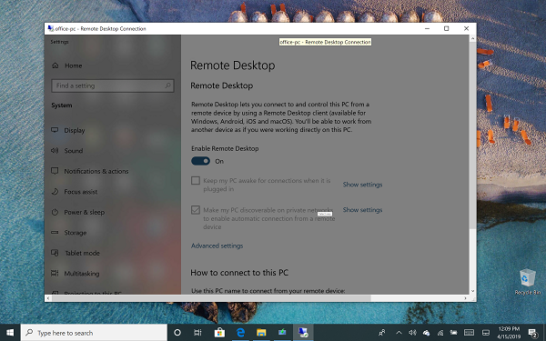 Remote Desktop Demo Windows 10 Hhome