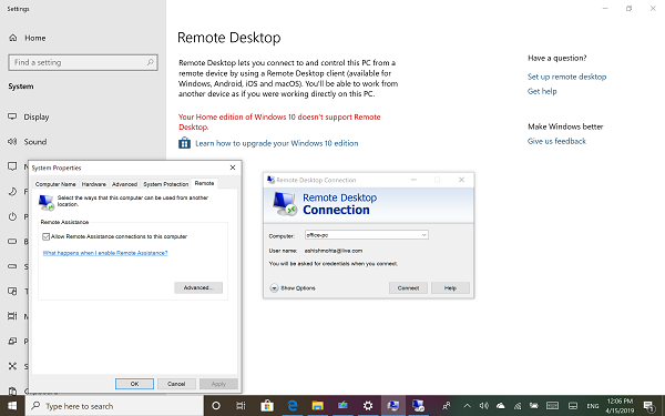 Windows 10 Remote Desktop in Windows Home