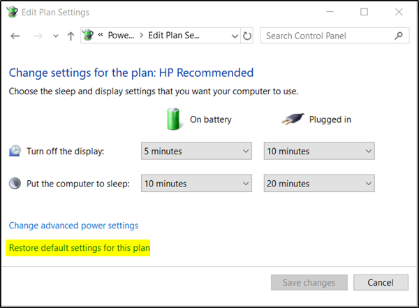 Change Plan settings in Windows 10