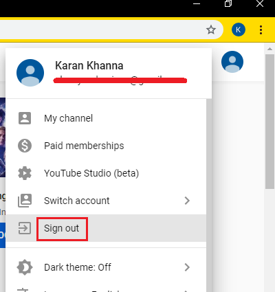 Sign-out from Google/YouTube