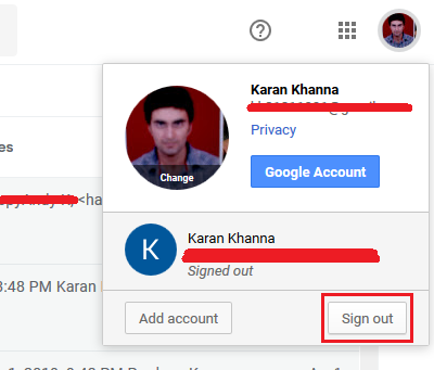 Sign out from gmail