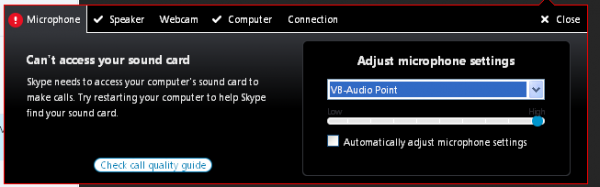 Skype can't access Sound Card