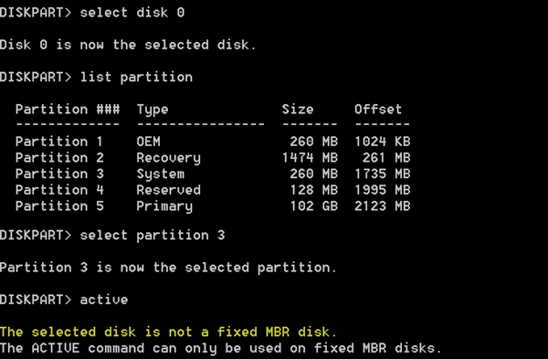The selected disk is not a fixed MBR disk