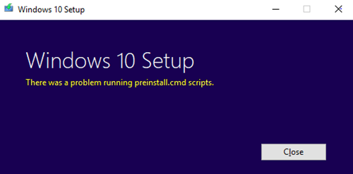 There was a problem running preinstall cmd scripts