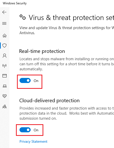 Toggle off Real time protection and cloud protection in Windows Security