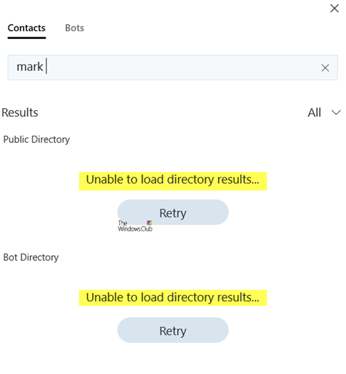 Unable to load Directory Results