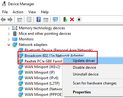 Update Network driver of Broadcom Network adapter
