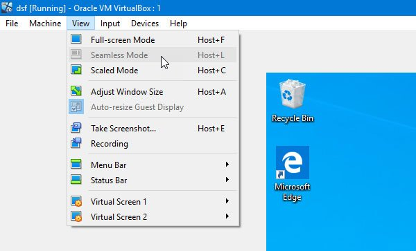 VirtualBox Seamless Mode is grayed out or not working