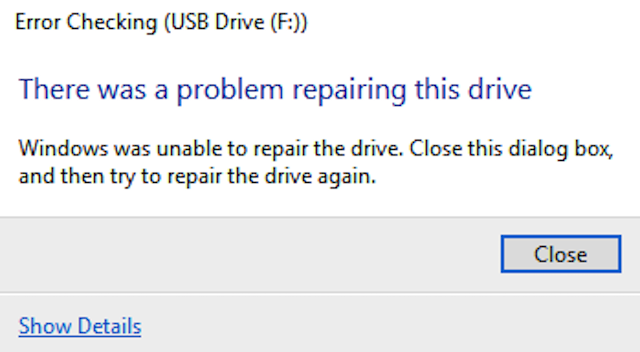 Windows was unable to repair the drive