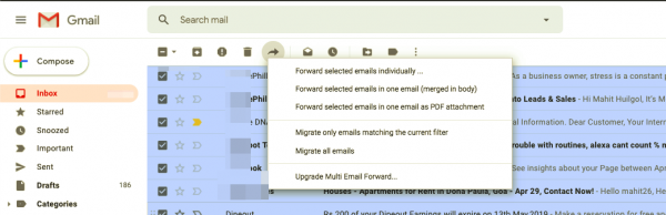 How to mass forward multiple emails in bulk on Gmail