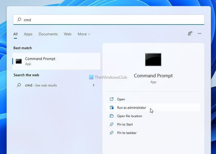 How to run Command Prompt as Administrator in Windows 11/10