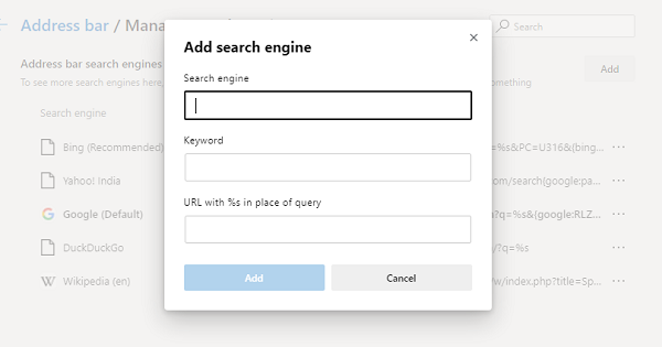 Manually add a search engine