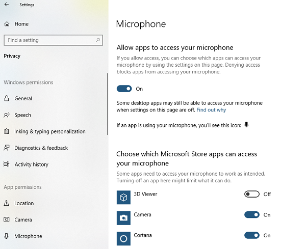 Allow Apps to use Microphone in Privacy Settings
