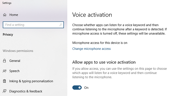 Voice Activation in Windows 10