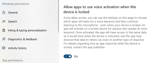 Allow Apps to use Voice activation in Windows 10 Lock Screen