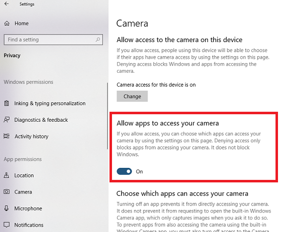 Allow apps to access your camera in Windows 10