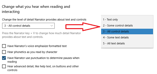 new features in Narrator in Windows 10