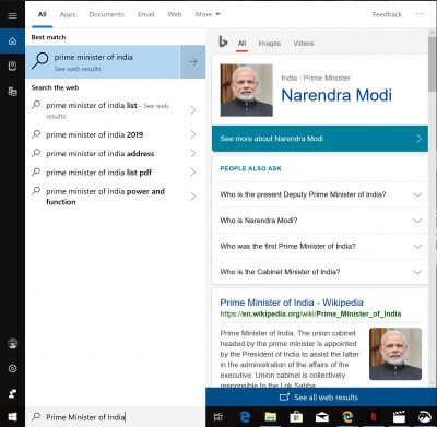 Microsoft has replaced the unified search where you lot don Cortana Web Preview non working on Windows 10