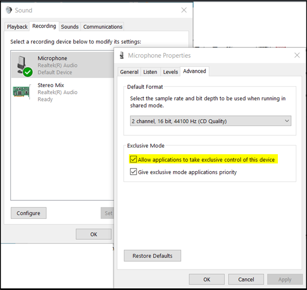 AGC Microphone in Windows 10