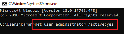 Enable administrator user