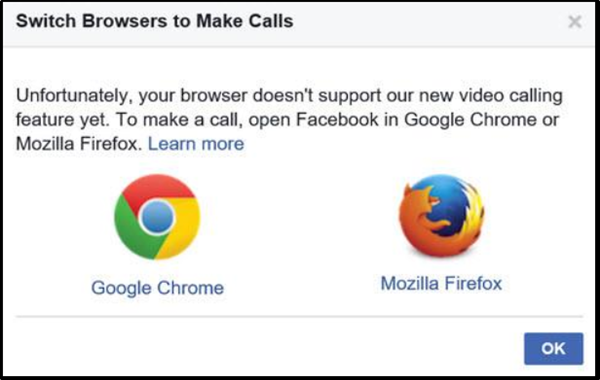 Facebook messenger voice calls and video calls do not work on Microsoft Edge