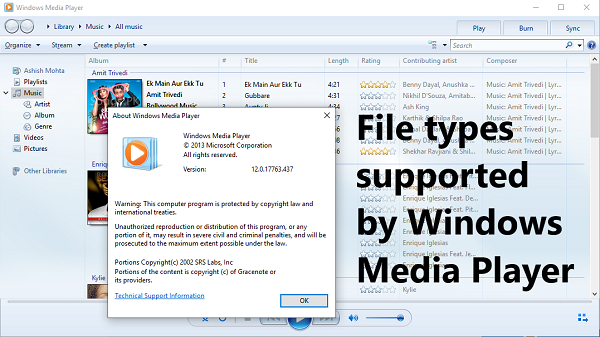 File types supported by Windows Media Player