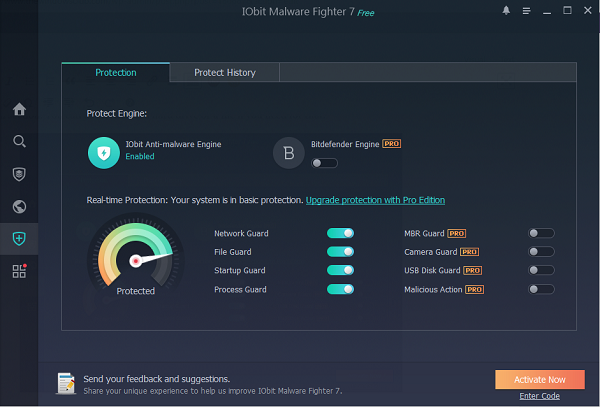IObit Malware Fighter Free Protection stats