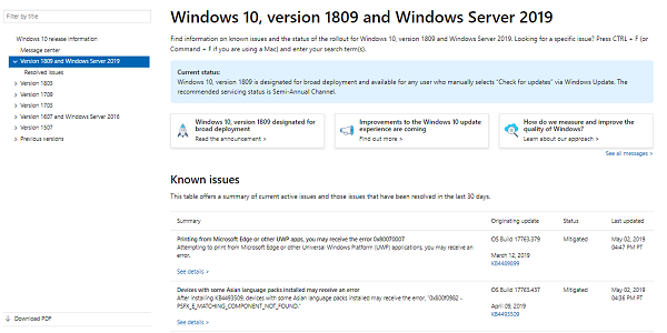List of Windows 10 Server versions Resolved fixed issues
