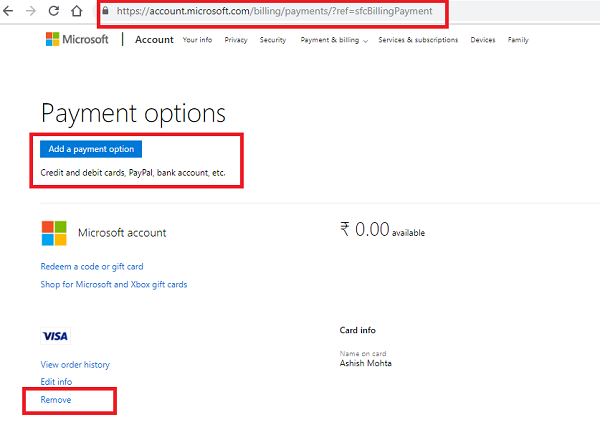 Microsoft Billing Add Payment method