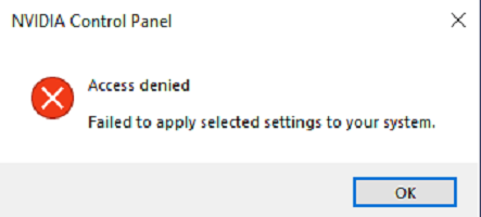 NVIDIA Control Panel access denied - won't apply settings