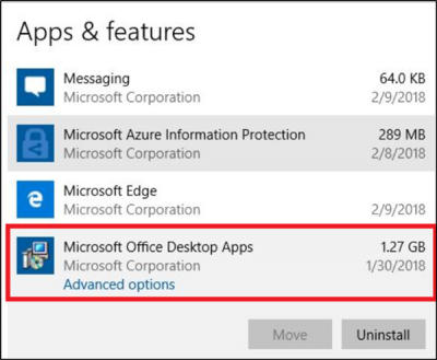 Uninstall individual Office 365 apps