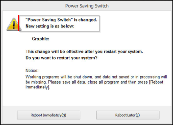 Power Saving Switch is changed