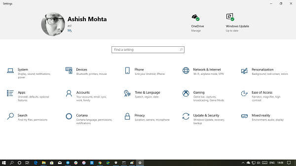How to enable Settings header design on Windows 10