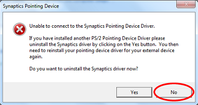 Unable to connect to Synaptics Pointing Device Driver Unable to connect to Synaptics Pointing Device Driver