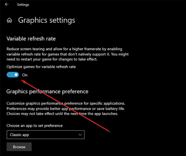 Graphic Setting - Variable refresh rate