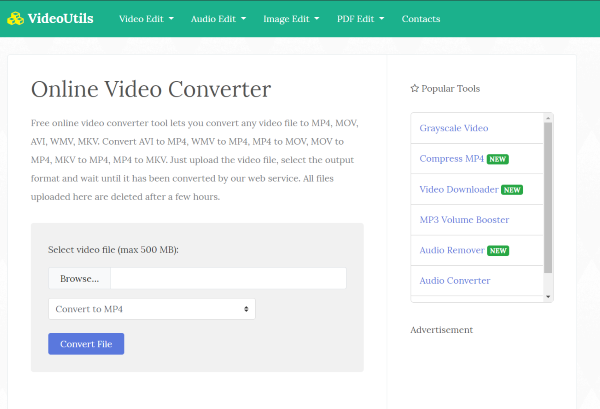 VideoUtils online multimedia converter and editor