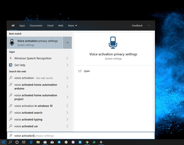 Voice Activation Privacy Settings