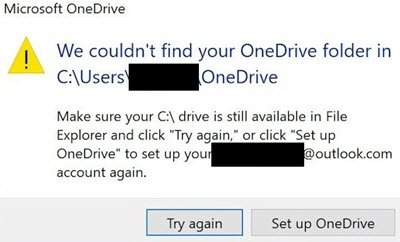 We couldn't find your OneDrive folder