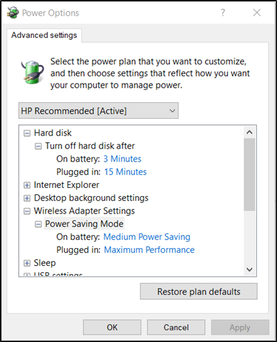 tin sometimes last a troublesome sense Power Saving Switch is changed effect on Windows 10