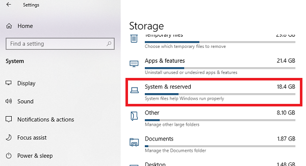 enable or disable Reserved Storage