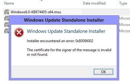 Windows Update Standalone Installer error 0x80096002
